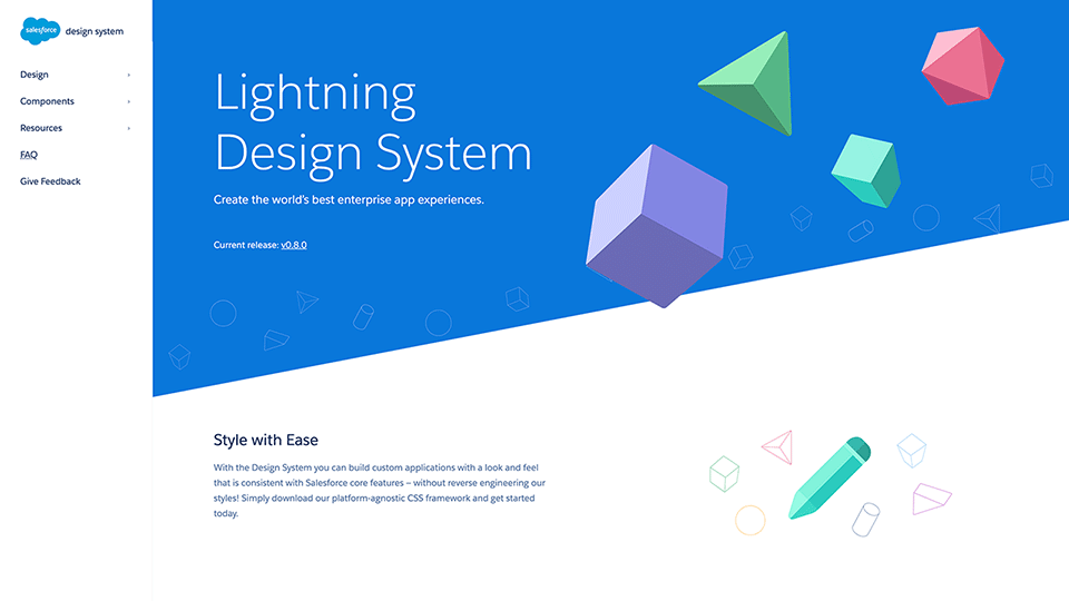 Salesforce Lightning Design System website
