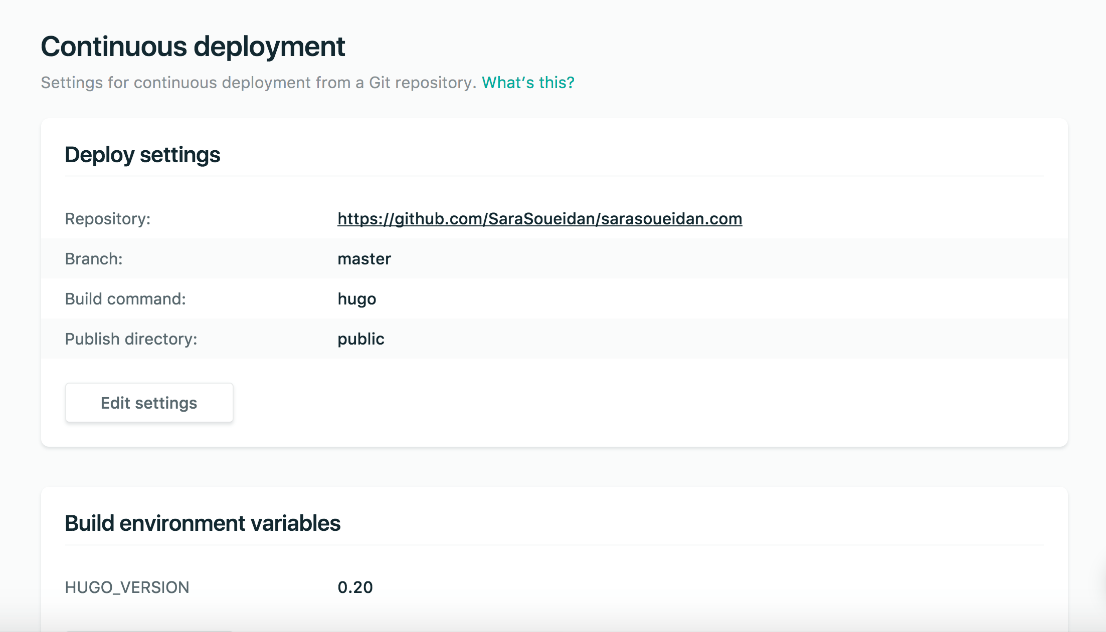 Deploy settings, build environment variables as seen on my Netlify dashboard.