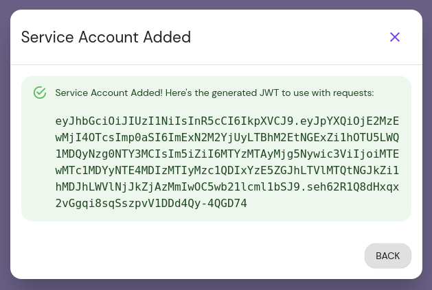 Service Account Added