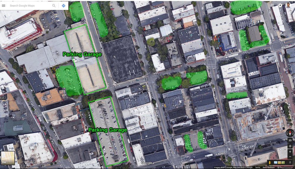 surface lots and parking garages within about two blocks