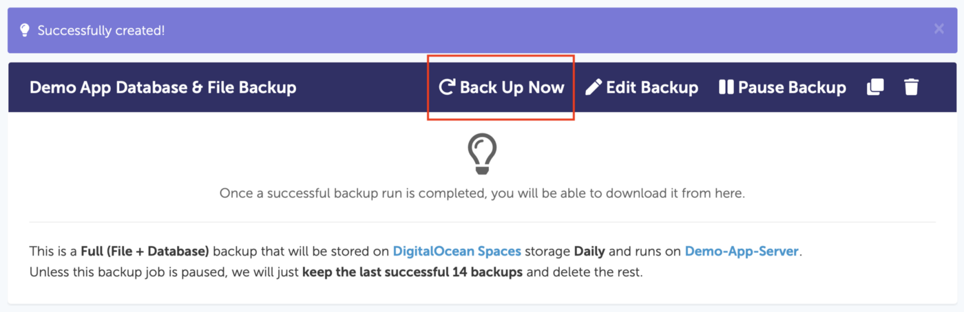 Daily Backup View — SimpleBackups