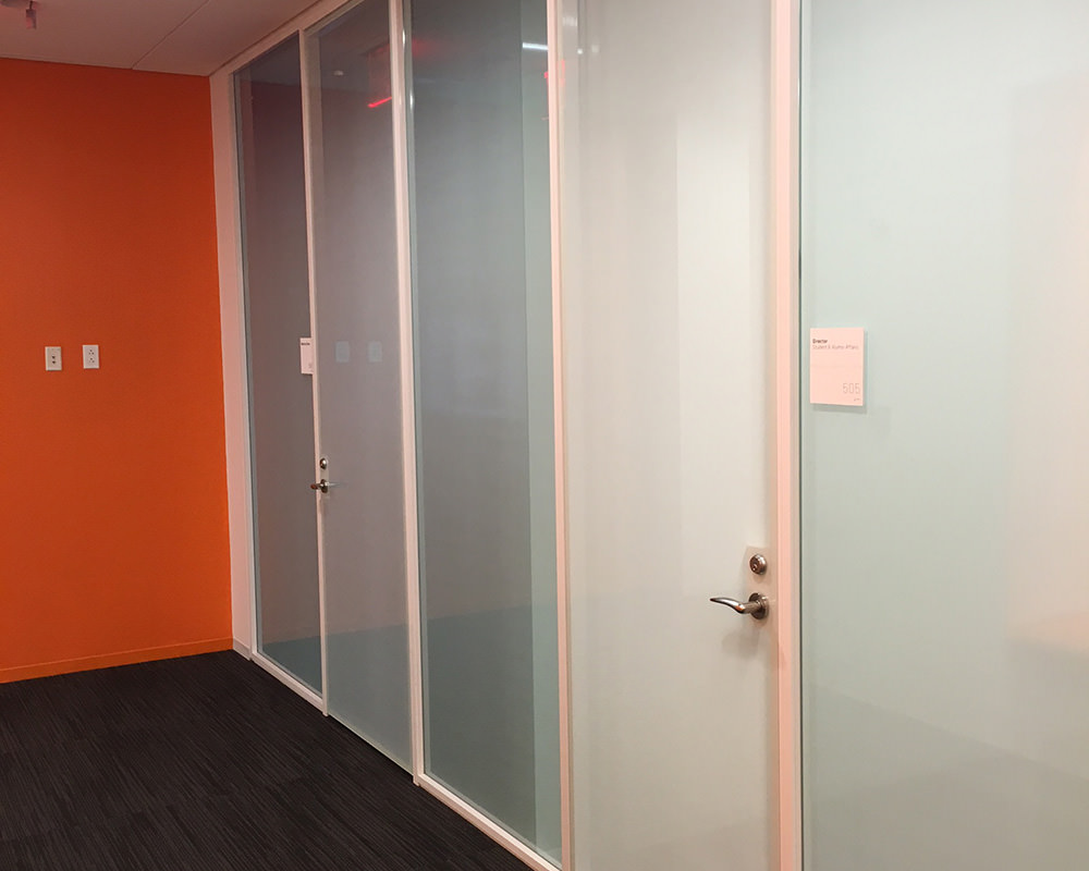 Office Hallway with Glass Doors and Walls