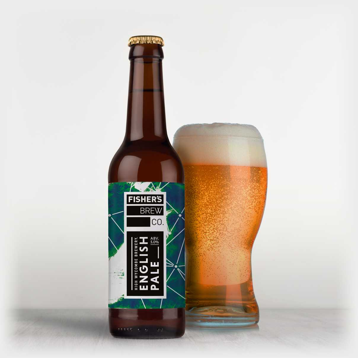 Fisher's branded English Pale Ale bottle and glass of beer