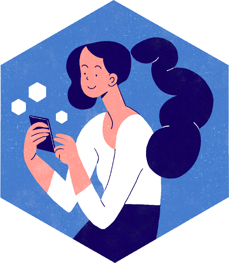 Person using their phone. Lydia Hill Illustration. All rights reserved.