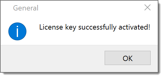 A screenshot of Vale Server's 'license approved' dialog.
