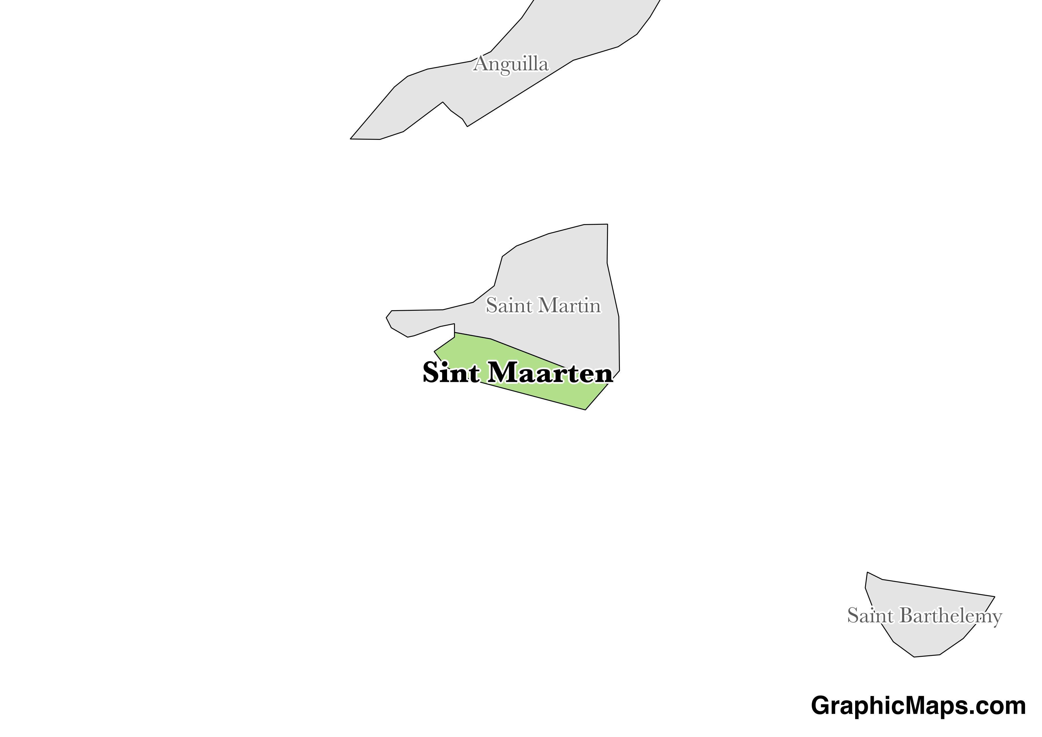 Map showing the location of Sint Maarten