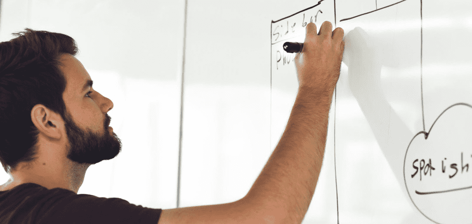Man writes on whiteboard about his business plan, opportunity and risk
