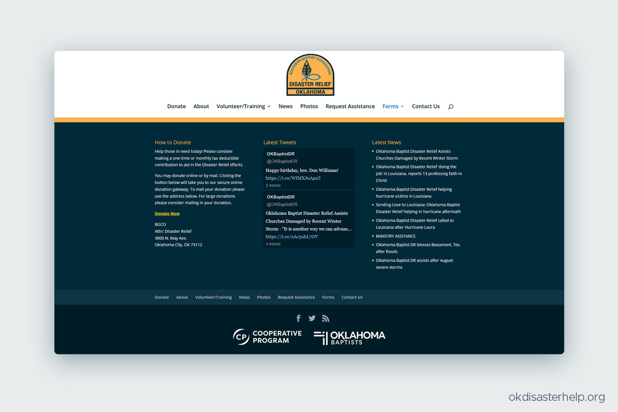 The Oklahoma Baptists Disaster Relief website, themed with the new Oklahoma Baptists identity system