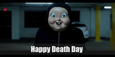 Happy Death Day's killer wears simple clothes like a black hoodie, black pants, and black sneakers.