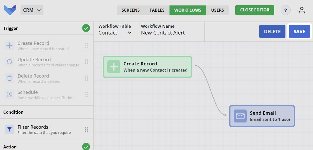 Save Workflow button