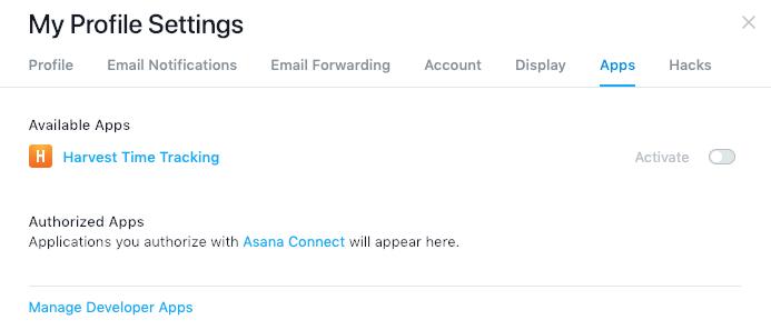 Asana profile settings - Apps tab