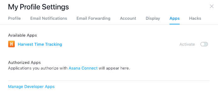 Asana profile settings - Apps tab