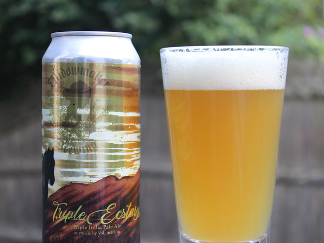 A 16oz can of Triple Ecstasy poured into a pint glass
