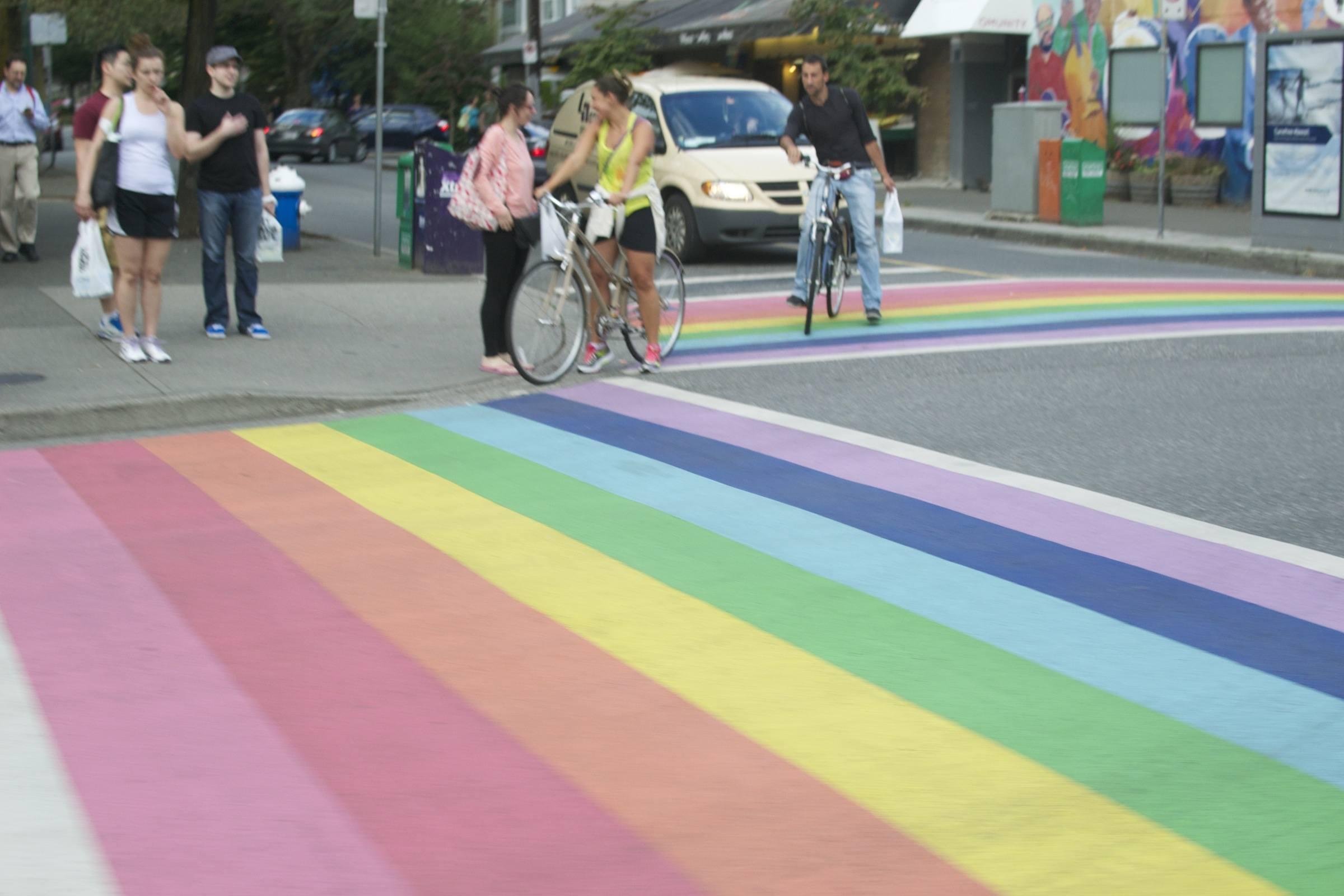 Davie Street has Canada's first permanent rainbow-coloured crosswalk, I approve!