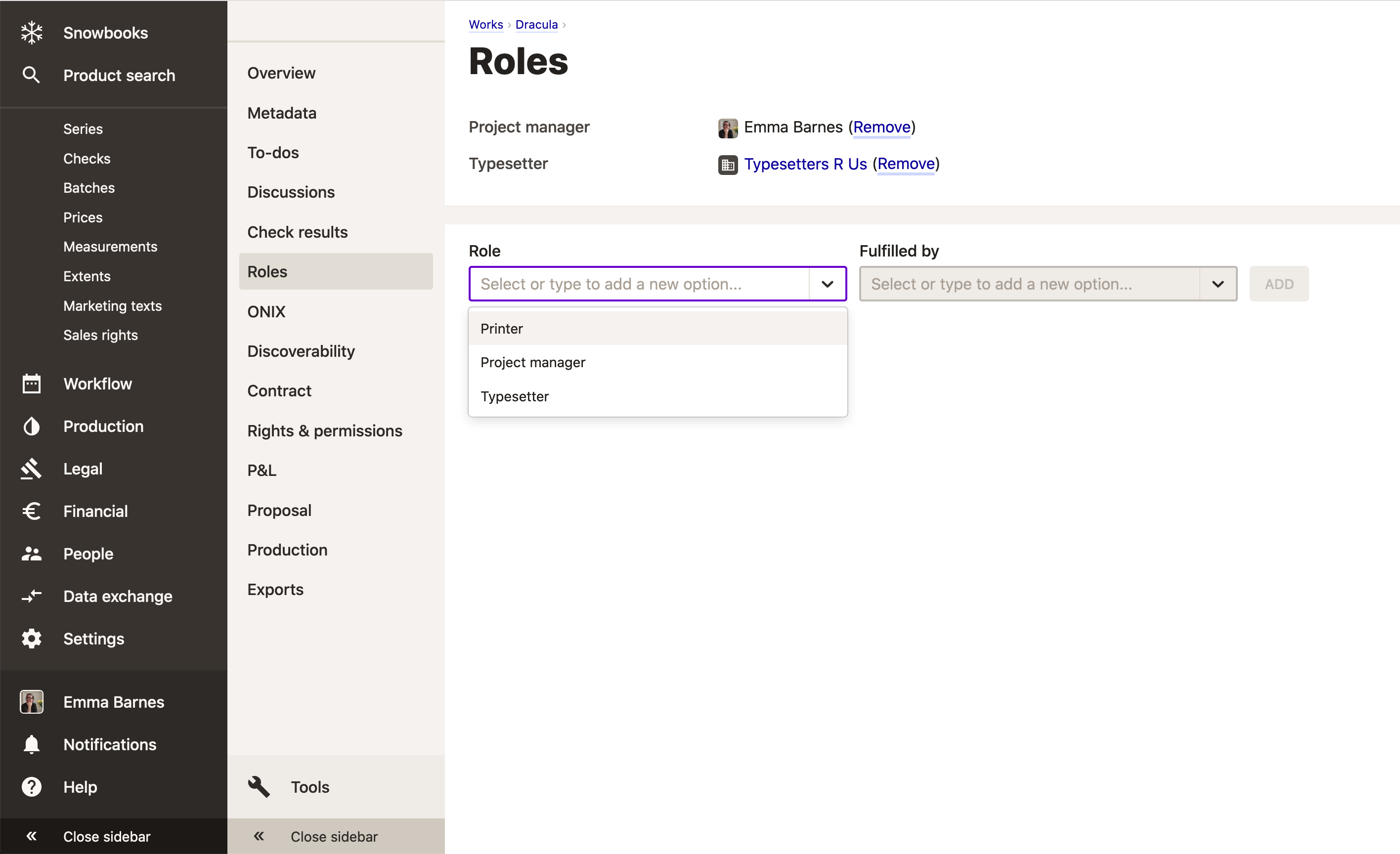Screenshot of roles in use on a work