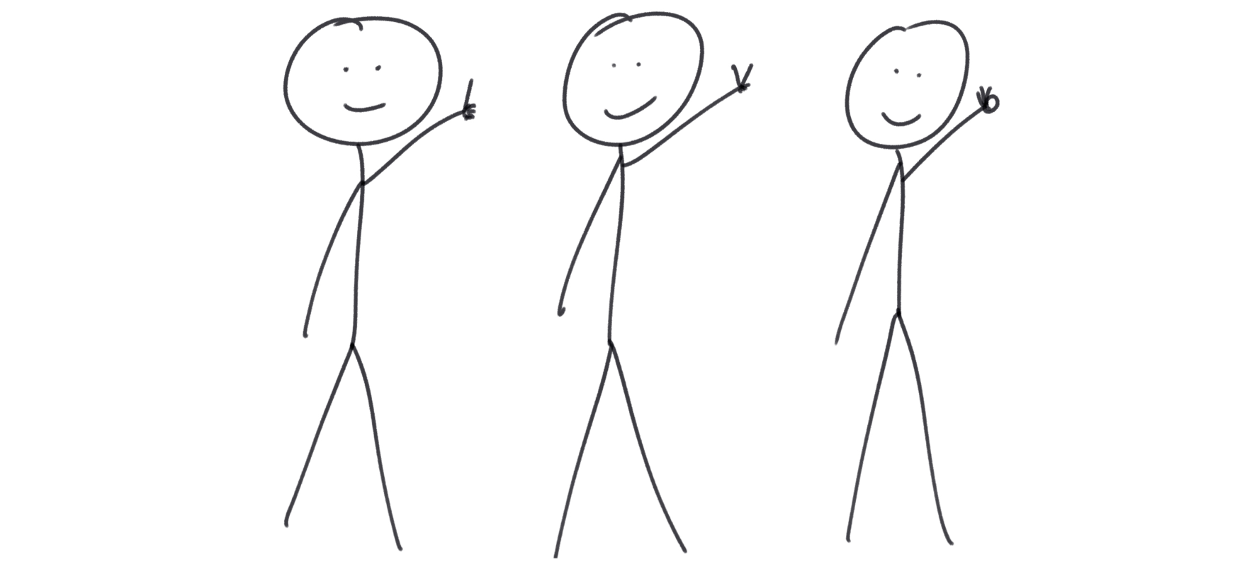 Stick figures counting 1, 2, 3.