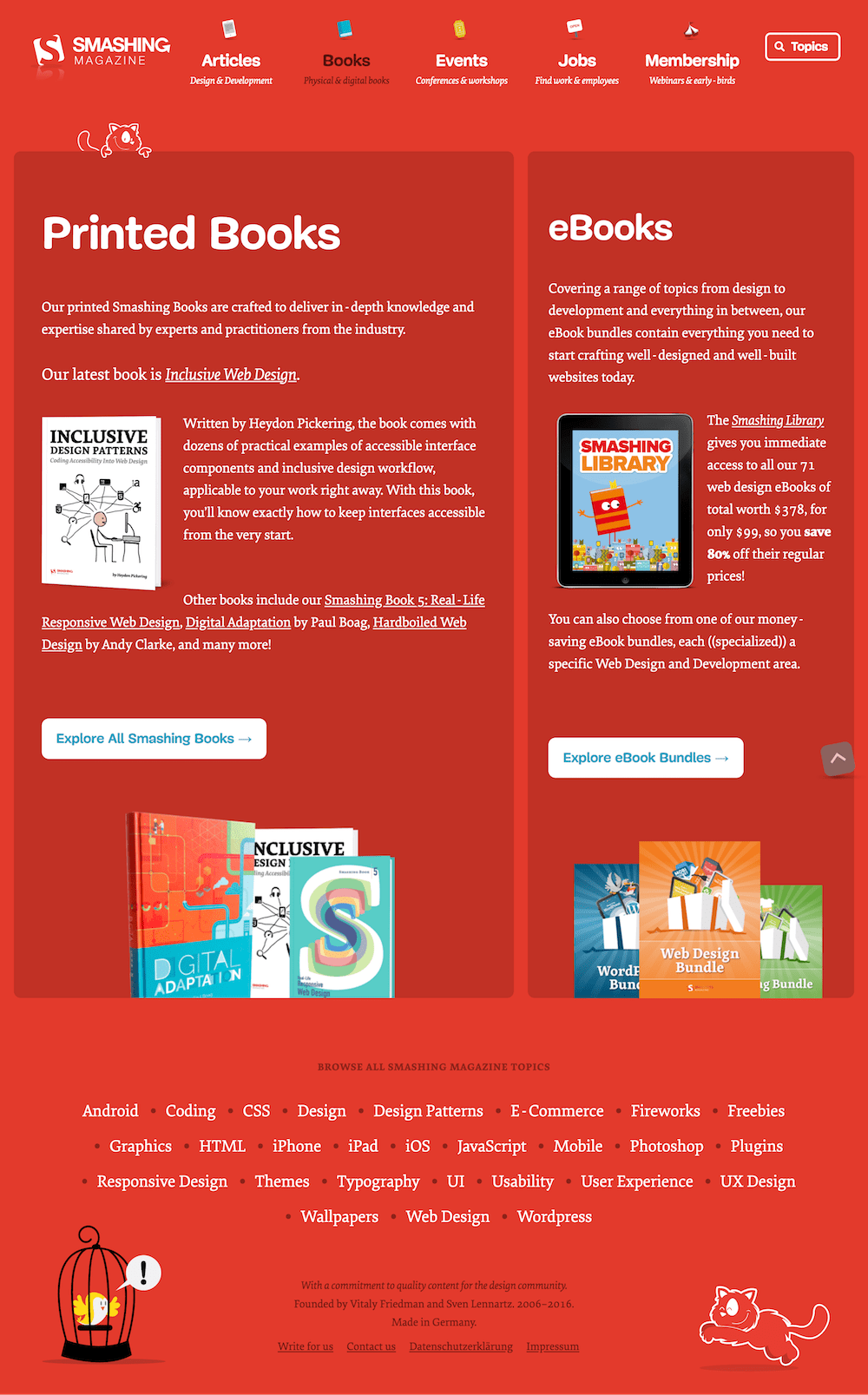 Screenshot of the Smashing Magazine Books page