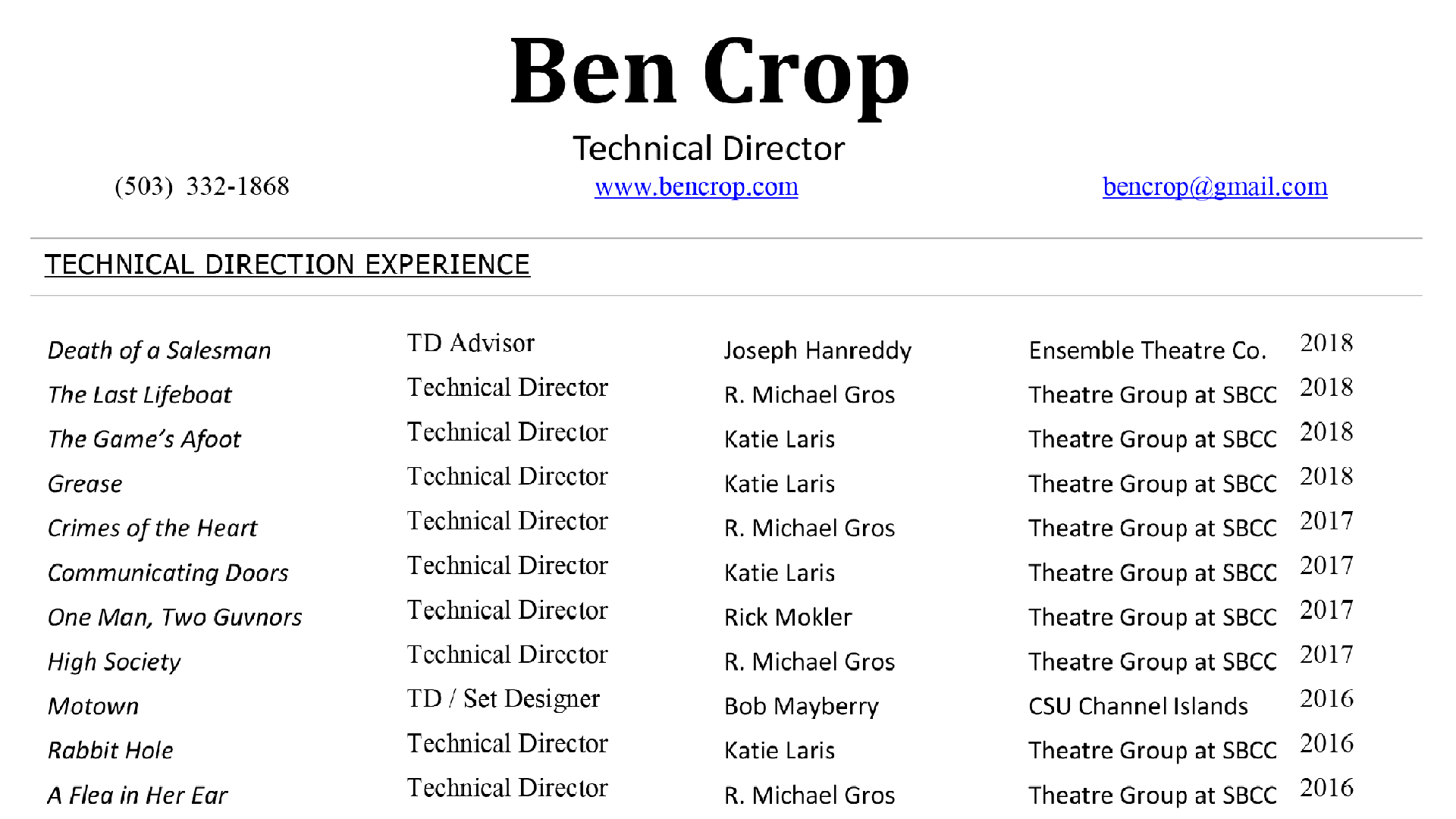 Technical Direction Resume