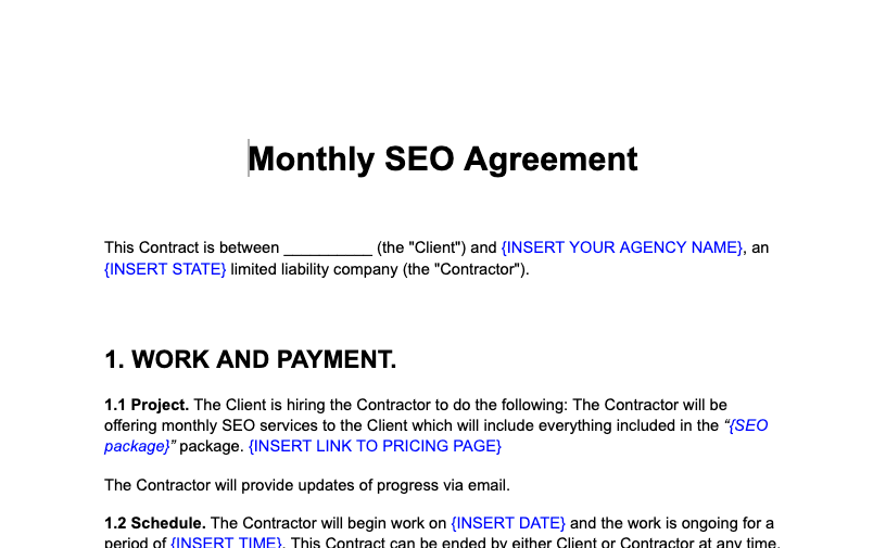 Monthly SEO agreement