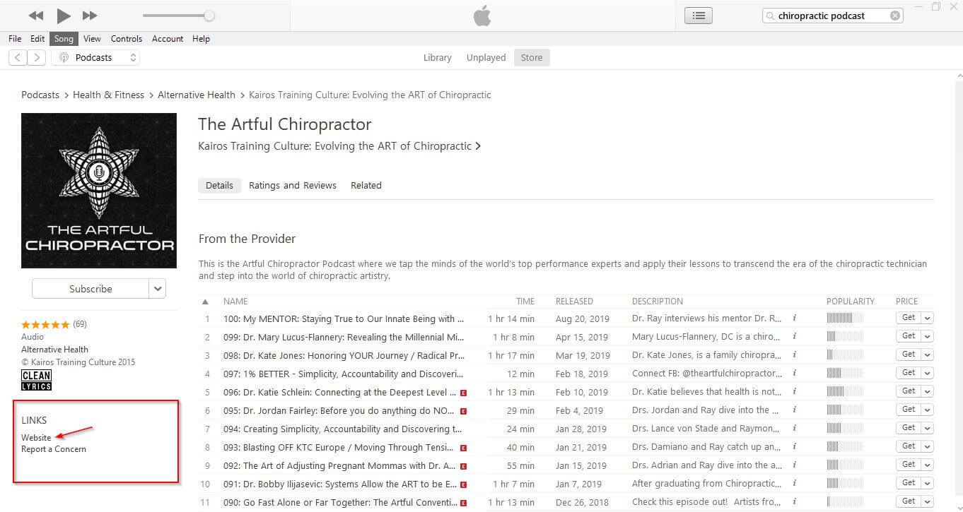 Finding chiropractic podcast through iTunes