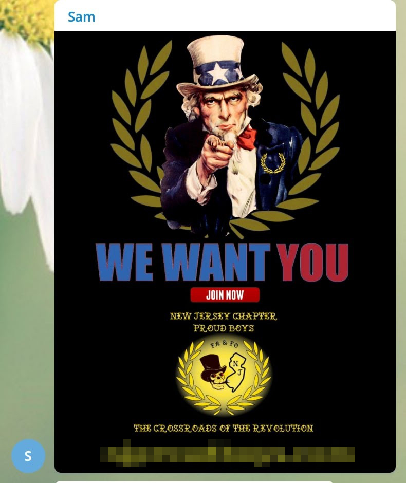 A 'Patriot Party NJ' member named Sam shares a Proud Boys recruitment flier with a picture of Uncle Sam surrounded by a laurel wreath. The poster reads: 'WE WANT YOU. JOIN NOW. NEW JERSEY CHAPTER, PROUD BOYS. THE CROSSROADS OF THE REVOLUTION'