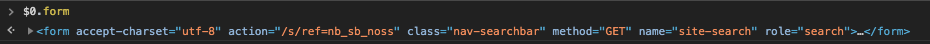 Console log of a form element