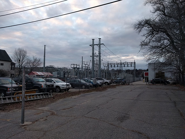 The back of Barrows Hardware and an electrical transfer station