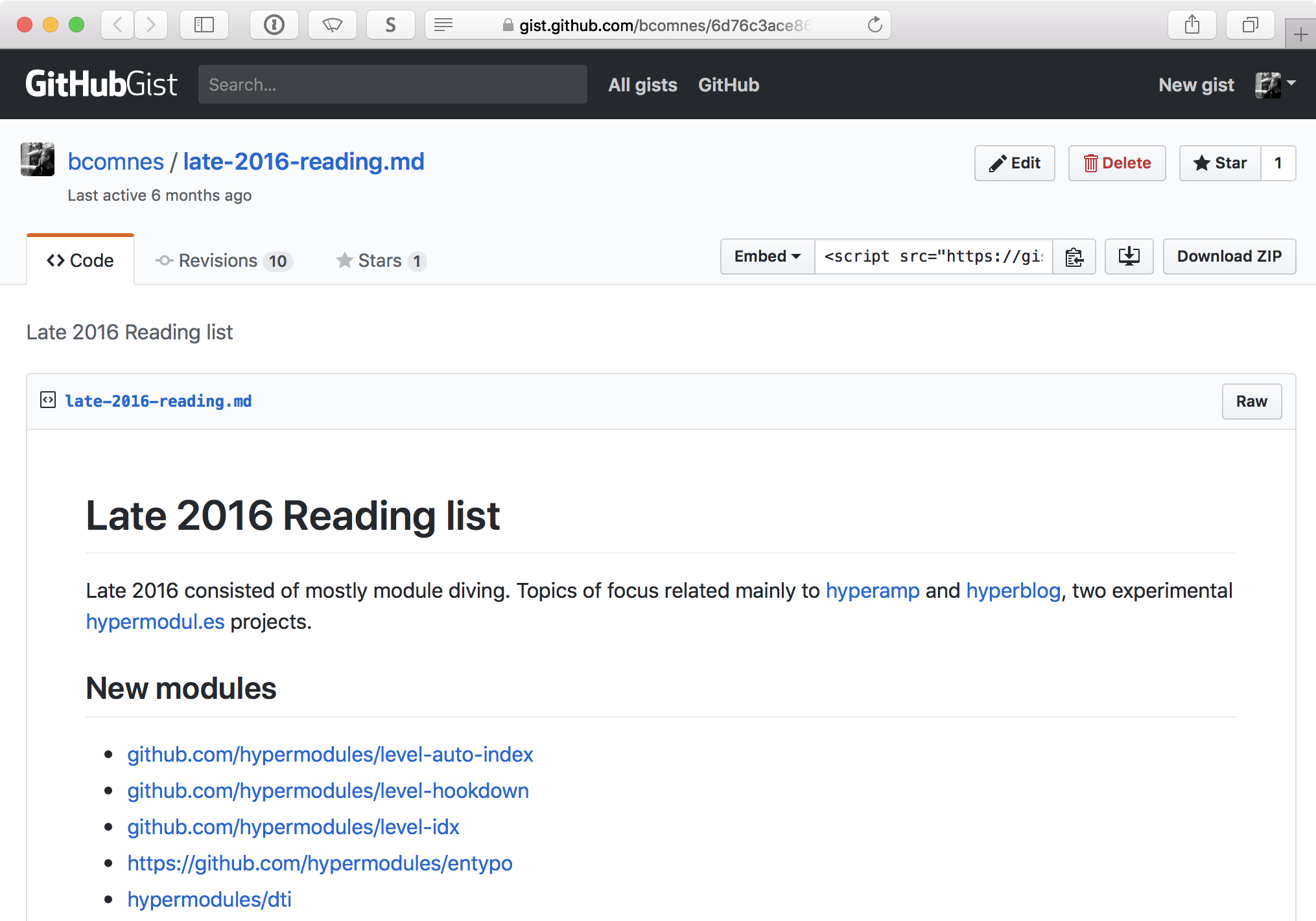 Screenshot of 2016 reading list