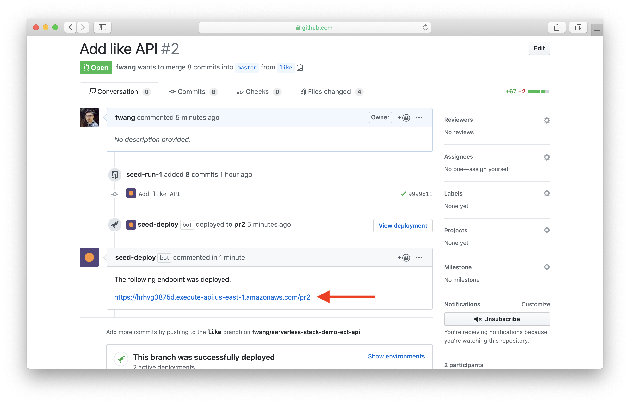 Show API endpoint in GitHub PR page