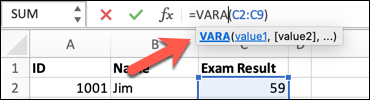 An Excel spreadsheet with the VARA function typed into the formula bar with a range of cells selected