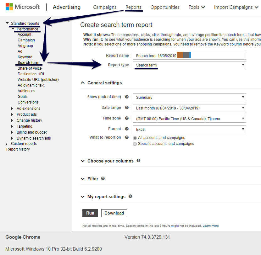 Microsoft Advertising search terms report location