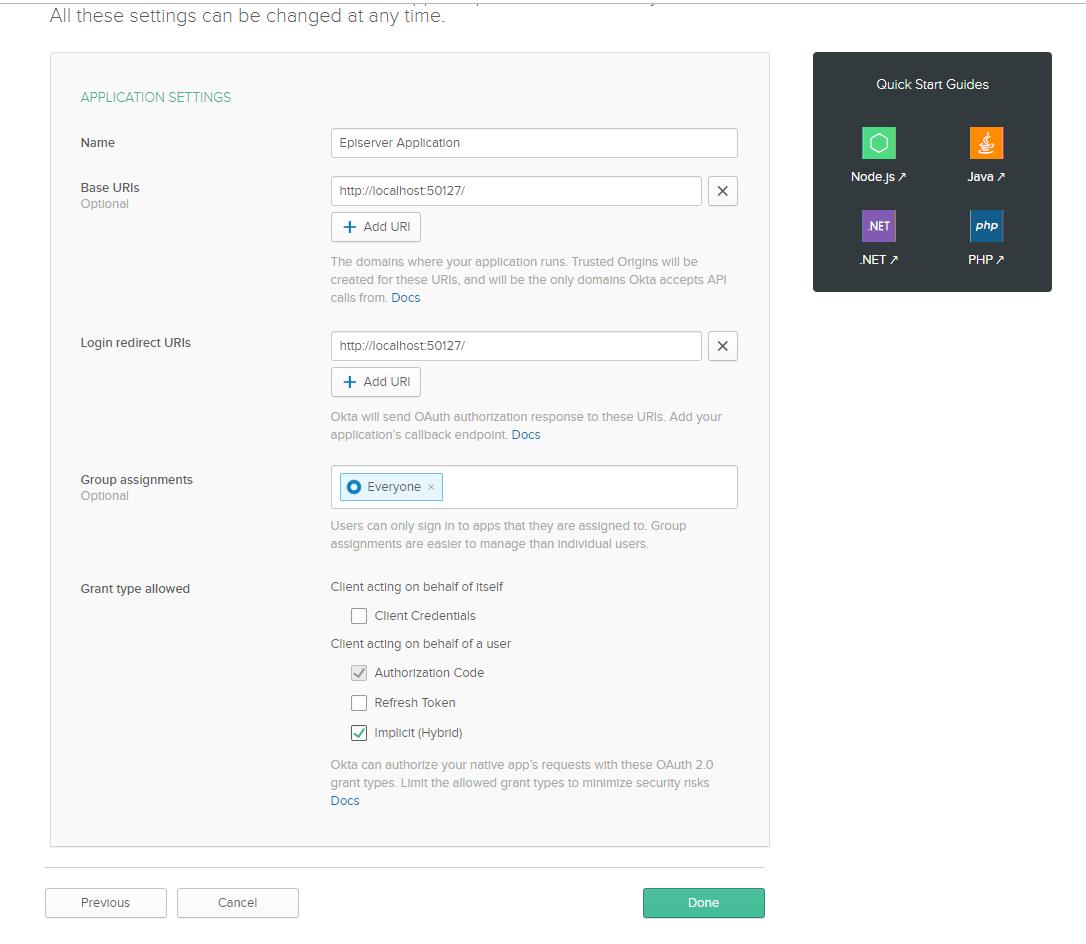 Okta application configuration