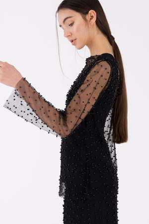 Beaded Long Sleeve Top, Black