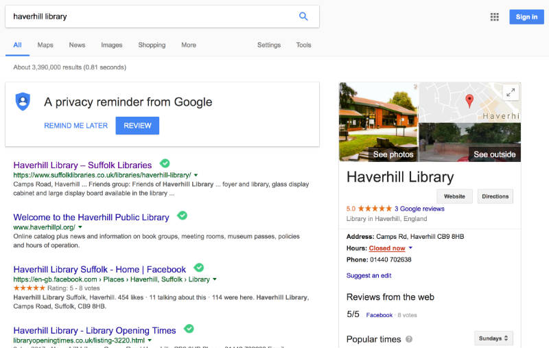 Screenshot of a Google search for Haverhill Library