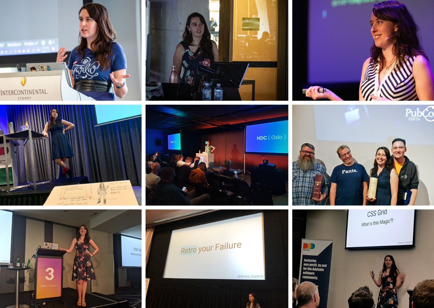 Collage of pictures of me speaking at various events this year