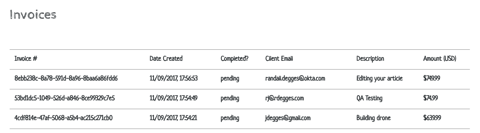 Crypto Invoicer List