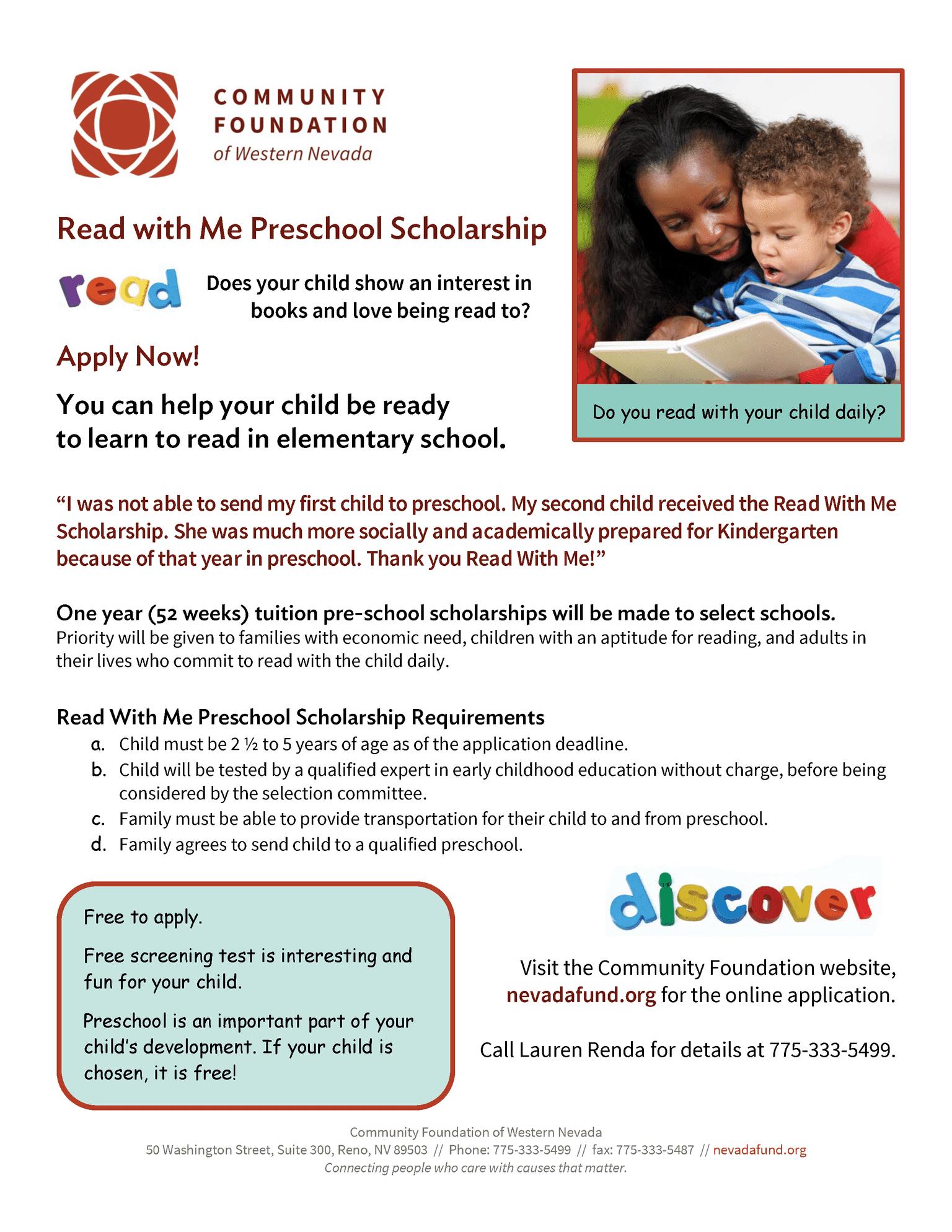 Read with Me Preschool Scholarship flyer