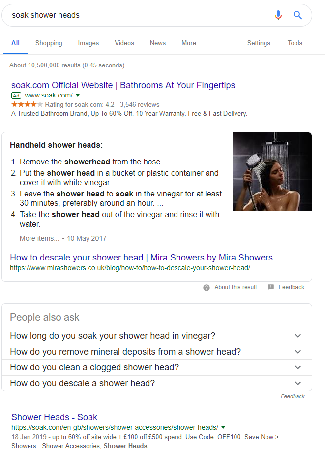 answer box pushing search results down