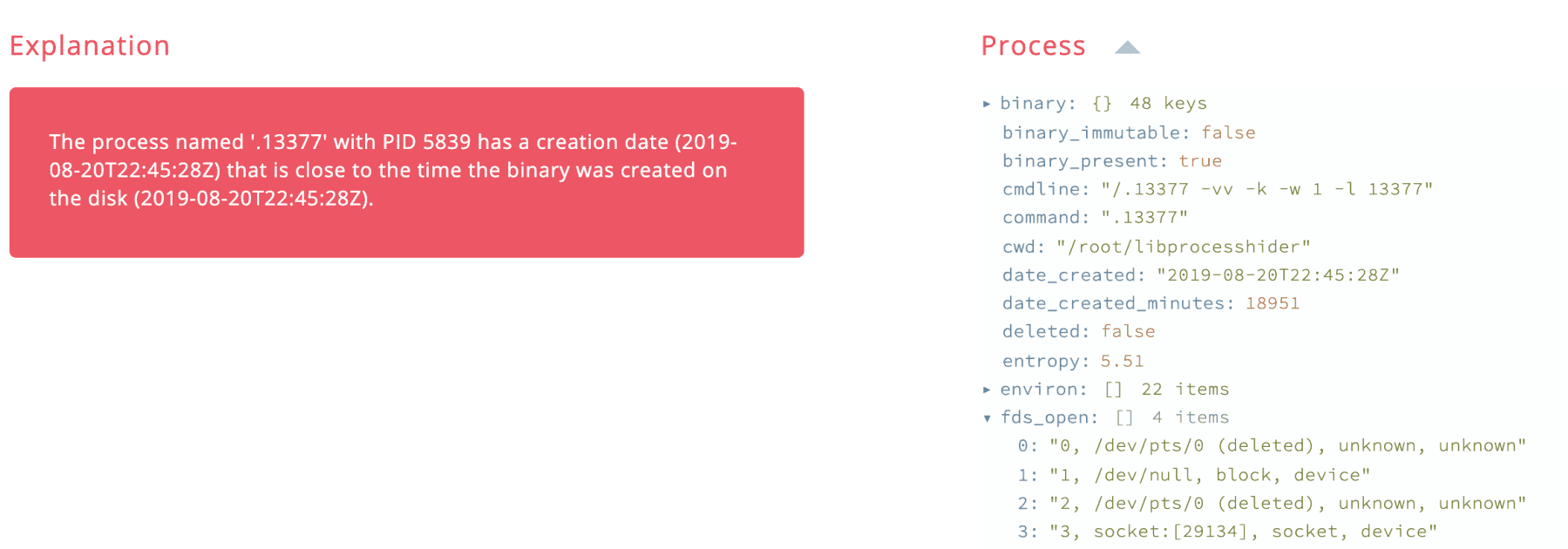 Process and binary creation time example