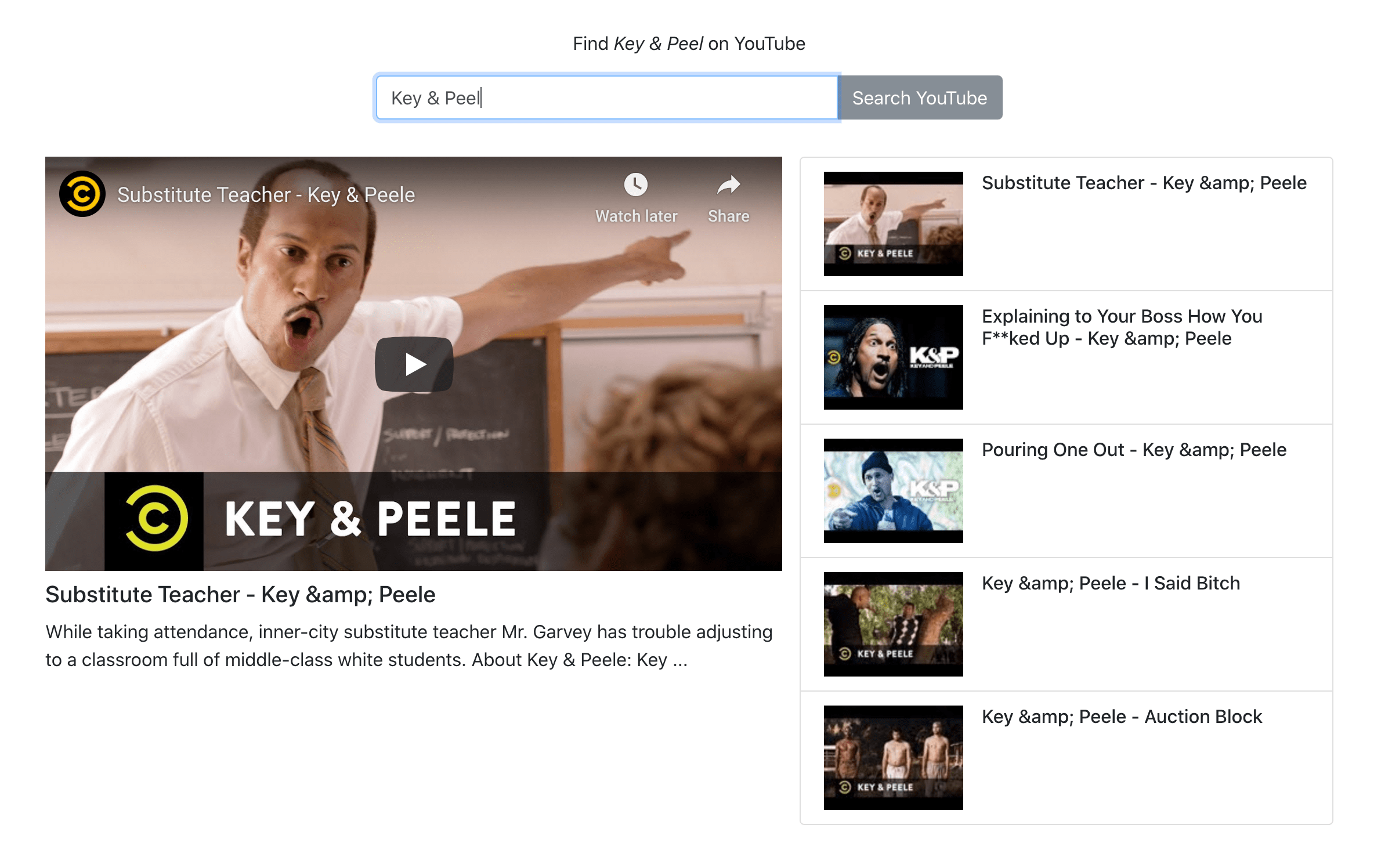 Screenshot of YouTube Search App