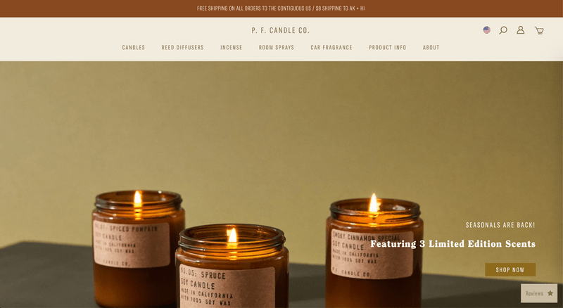 P.F. Candle Co.'s Shopify Website Homepage