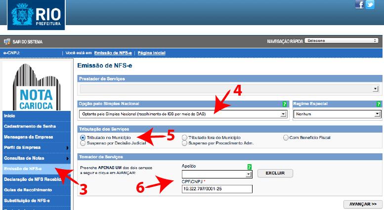 Passos 3, 4, 5 e 6 de como emitir nota fiscal carioca no simples nacional