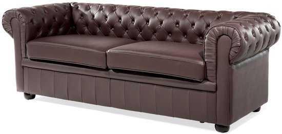Beliani Chesterfield Bank Leer Bruin 9200000056561028_2 56 cm