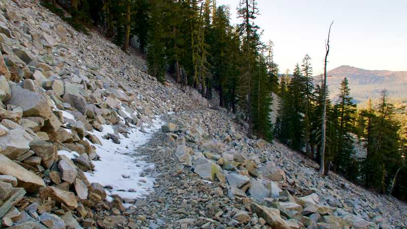 Snow on a talus slope