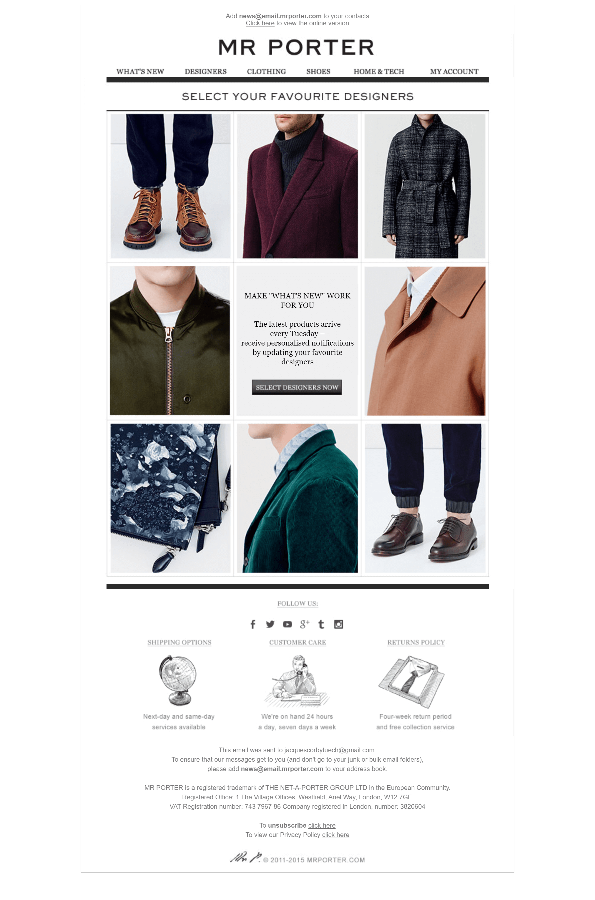 Mr Porter Email, Who are your favourite designers?