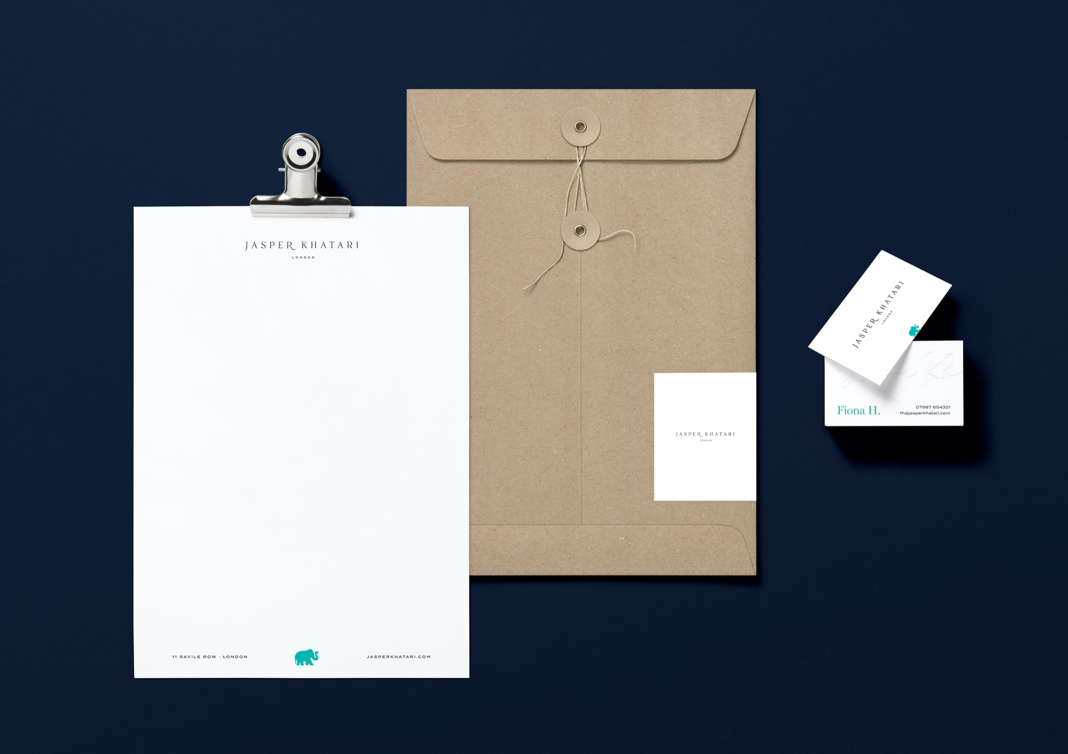 Business stationery, letterhead, envelope and business card design for Savile Row, Jasper Khatari