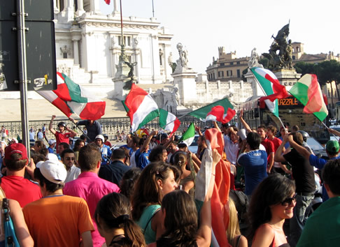 Italian fans celebrate a win against Australia in the 2006 FIFA World Cup