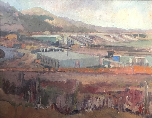 painting of the Channel Tunnel terminal and surrounding hills