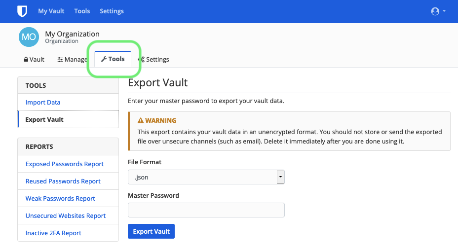 Export Organization Vault
