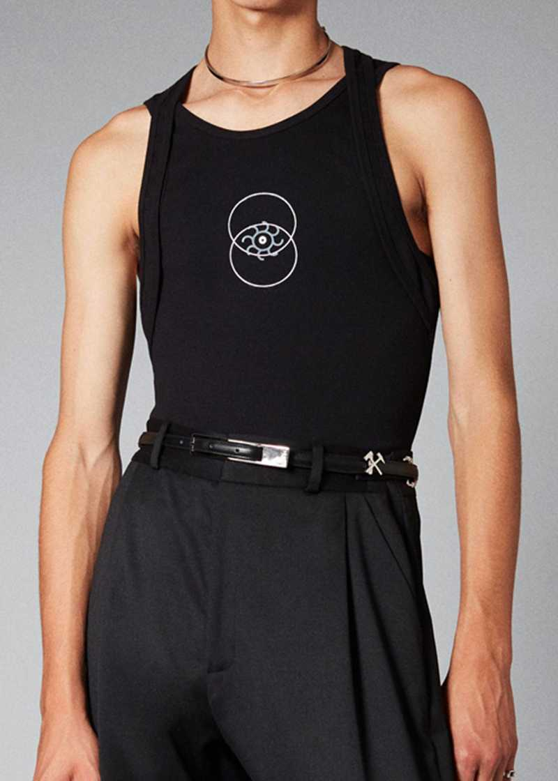 ARDA vest in black. GmbH Spring/Summer 2021 'RITUALS OF RESISTANCE'